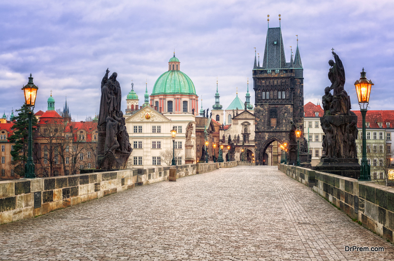 Charles bridge and the skyline of Prague, Czech Republic