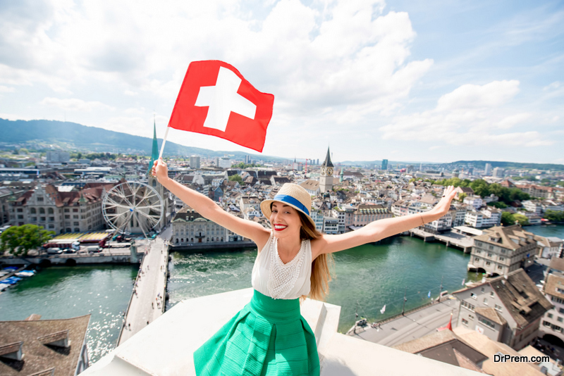 Woman traveling in Zurich city