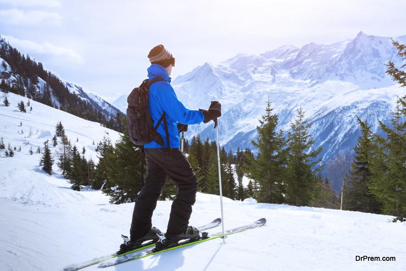 Skier enjoying beautiful view