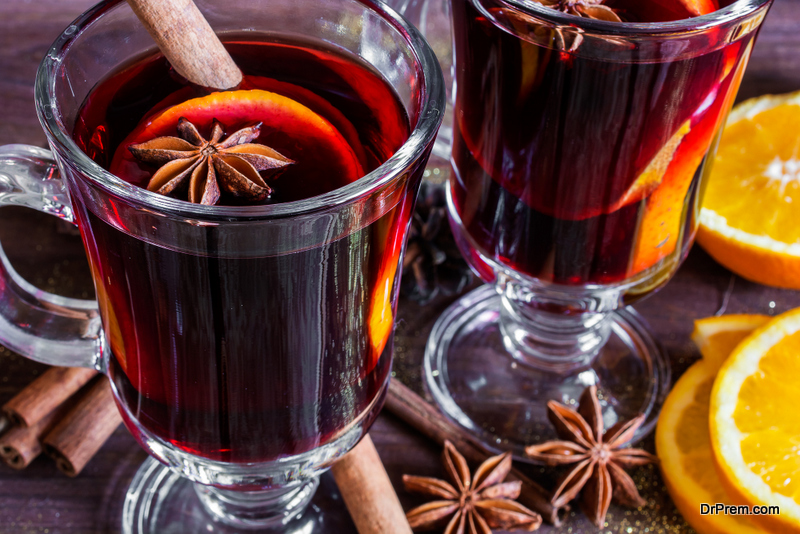 vats bubbling with mulled wine