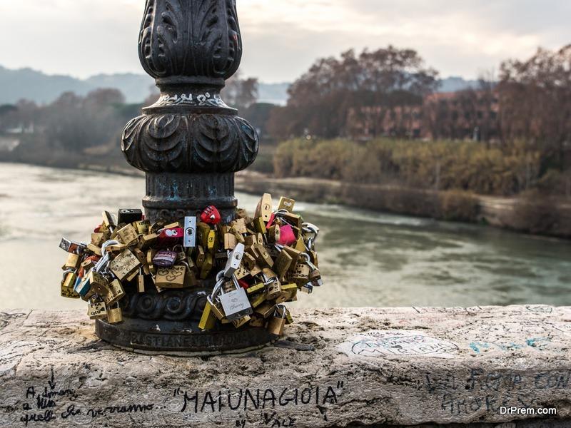 padlocks on the Ponte Milvio bridge in Rome
