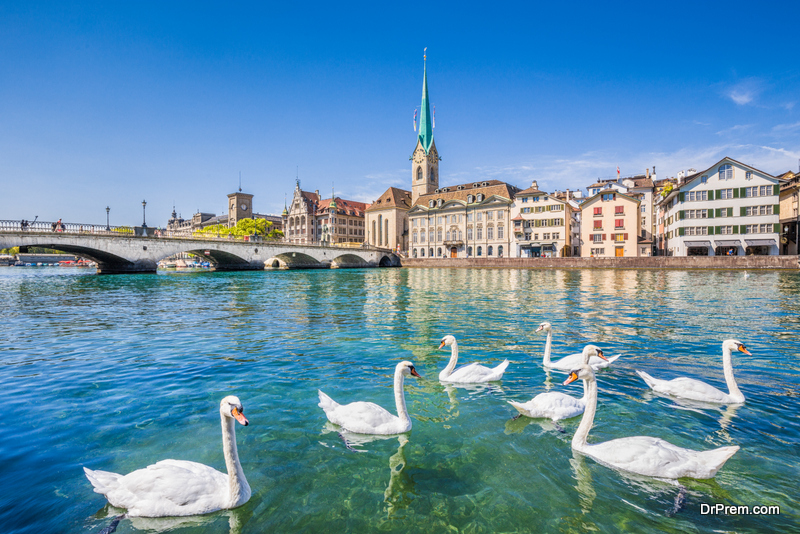 Historic city of Zurich with river Limmat, Switzerland