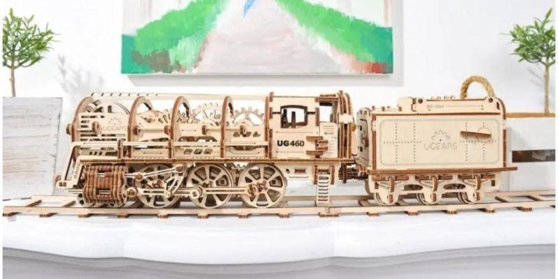 Steam Locomotive is a miniature wooden replica of a 19th-century steam locomotive
